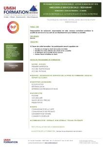 Programmme AMELIORER LE SERVICE EN SALLE - RESTAURANT - ACTIONS DE BRANCHES 2017-2018